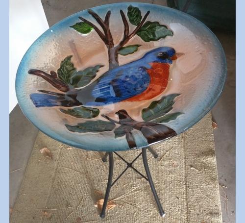 Glass Birdbath